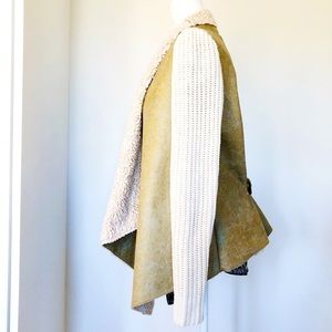 RD Style Faux Suede & Faux Fur Sweater Jacket